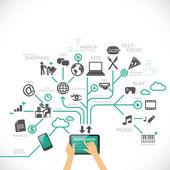 Mit tablet für verschiedene zwecke: social media, zeit-management, arbeit, spiele, musik, navigation, unterhaltung, essen usw. — Stockvektor