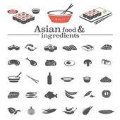 Asian food & ingredients — Stock Vector