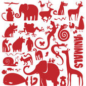 Funky animals vector collection — Stock Vector