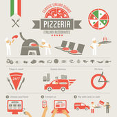 Pizza elements, italian pizzeria — Stock Vector