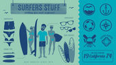 Surfers stuff — Stock Vector