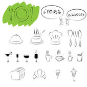 Foods and beverages icon set — Stock Vector