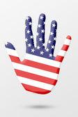 De la mano con la bandera de los e.e.u.u — Foto de Stock