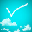 Check mark cloud in a blue sky — Stock Photo