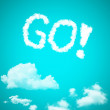 Go, a cloud message on sky — Stock Photo