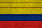 Colombia flag painted on a brick wall — Stock Photo