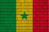 Senegalská vlajka maloval na zdi — Stock fotografie
