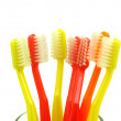 Toothbrushes in a water glass — Stock Photo