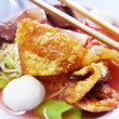 Seafood yong tau foo rice noodles with fishball — Stock Photo