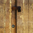 Old padlock on a wooden door — Stock Photo