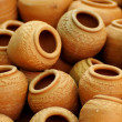 The group of small clay pots, use for background — Stock Photo