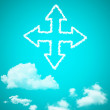 Cloud icon with design on blue sky background — Photo