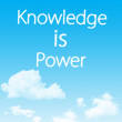 Knowledge is power cloud icon with design on blue sky background — Stock Photo