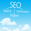 Search engine optimization cloud icon with design on blue sky background — Stock Photo