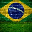 Flag of Brazil green grass — Stock Photo