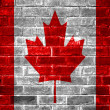 Stock Photo: Canadflag brick wall background