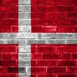 Denmark flag painted on a brick wall — Stock Photo