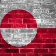 Greenland flag painted on a brick wall — Stock Photo