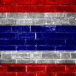 Thailand flag painted on old brick wall texture background — Stock Photo