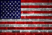American Flag brick wall background — Stock Photo