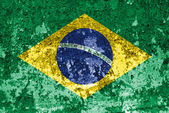 Brazil Flag painted on old wall — Stock Photo