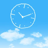 Cloud icon with design on blue sky background — Stock Photo