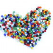 Colorful beads heart shape isolated on white background — Stock Photo