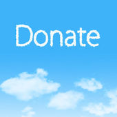 Donate cloud icon with design on blue sky background — Stock Photo