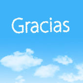 Gracias cloud icon with design on blue sky background — Stok fotoğraf
