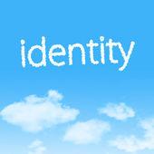 ícone de nuvem identidade com projeto sobre fundo de céu azul — Fotografia Stock
