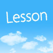Lesson cloud icon with design on blue sky background — Stok fotoğraf