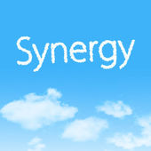 Synergy cloud icon with design on blue sky background — Stok fotoğraf