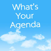 What's Your Agenda cloud icon with design on blue sky background — Stockfoto