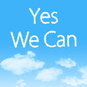 Yes We Can cloud icon with design on blue sky background — Stock Photo