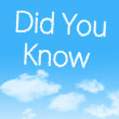 Did You Know cloud icon with design on blue sky background — Stock Photo