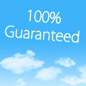 Guaranteed cloud icon with design on blue sky background — Stock Photo