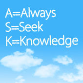 Always Seek Knowledge cloud icon with design on blue sky background — Stock Photo