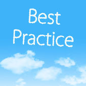 Best Practice cloud icon with design on blue sky background — 图库照片
