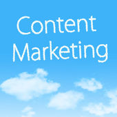 市场营销与设计在蓝蓝的天空背景上的云形图标的内容 marketingcontent — 图库照片