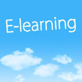 E-learning cloud icon with design on blue sky background — Stock Photo