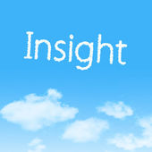 Insight cloud icon with design on blue sky background — 图库照片