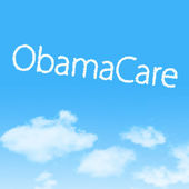 ObamaCare cloud icon with design on blue sky background — Stock Photo