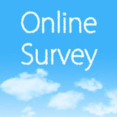 Online Survey cloud icon with design on blue sky background — Stock Photo