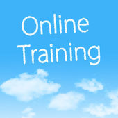 Online Training cloud icon with design on blue sky background — Stock Photo