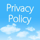 Privacy Policy cloud icon with design on blue sky background — Foto Stock