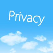 Privacy cloud icon with design on blue sky background — Stock Photo