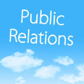 Public Relations cloud icon with design on blue sky background — Stock Photo