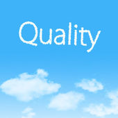 Quality cloud icon with design on blue sky background — Stock Photo