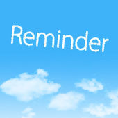Reminder cloud icon with design on blue sky background — Foto Stock