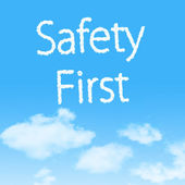Safety First cloud icon with design on blue sky background — Stock Photo